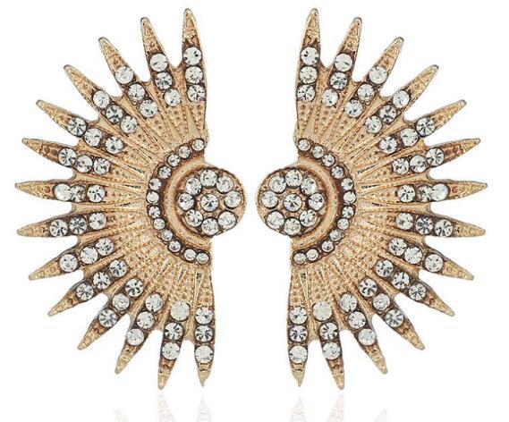 HOT NEW Style European and American big brand nightclub trend ear nail willow leaf fan-shaped earrings, earrings, fashionable personality po