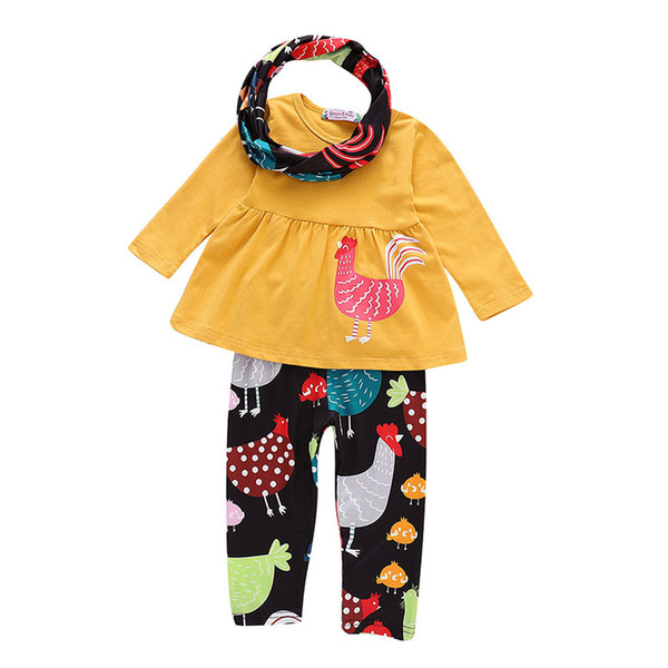 Thanksgiving baby outfits children girls Turkey dress top+print pants with scarf 3pcs/set 201+ Autumn kids Clothing Sets C5309