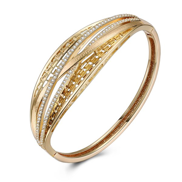 Sparkling Trendy Intertwined Crossover Women Bangle Bracelet Champagne Gold Jewelry with CZ Crystals