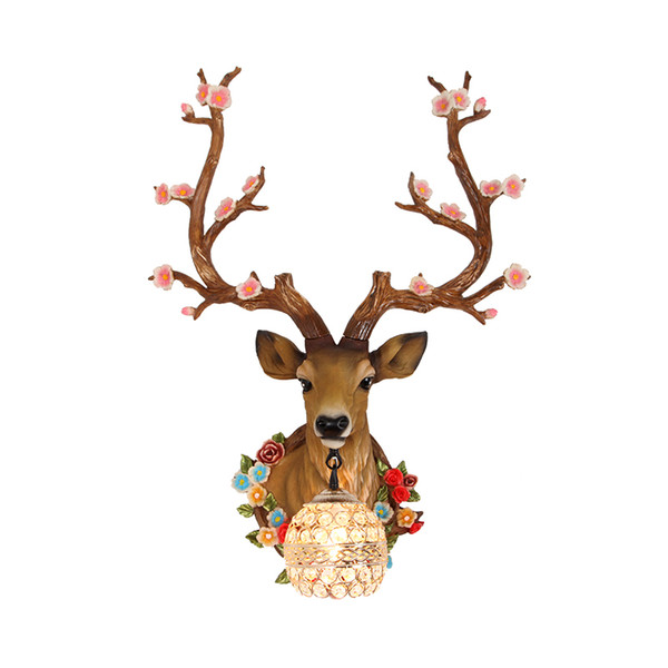 Classic LED K9 Crystal Wall Lamp Fixture Home Lighting Resin Sika deer Wall Light Art Sconce For Bedroom Corridor lamp G678