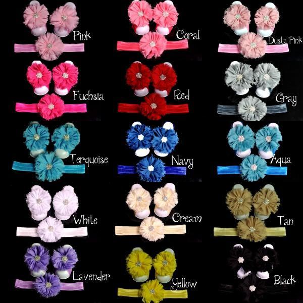 15 Colors Adorable Shabby Flower Headband Barefoot Sandal Set With Rhinestones for Summer Pre-Walker Infant Toddler Newborn Baby Shower Gift