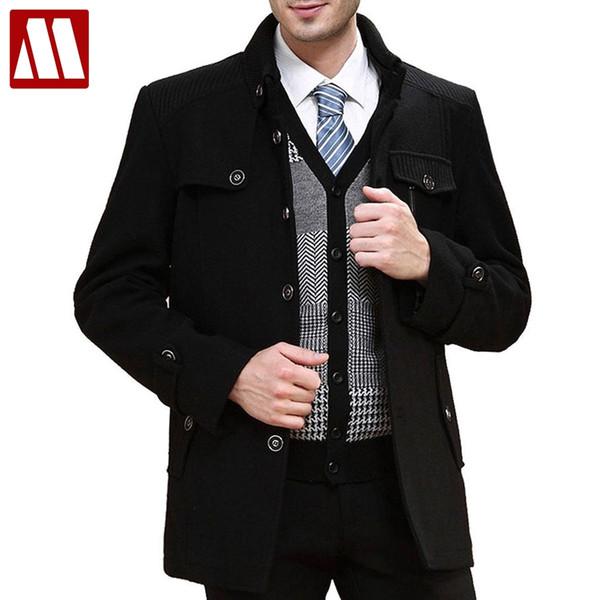 2017 cappotti di lana da uomo di moda plus size XXXL lungo inverno lana cappotto di marca pisello trench autunno cappotto uomini drop shipping