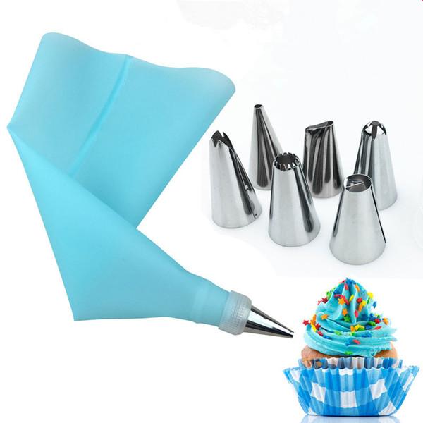 8 pçs / set silicone acessórios de cozinha confeiteiro creme de confeiteiro saco de confeiteiro + 6 bocal de aço inoxidável conjunto diy dicas de decoração do bolo conjunto