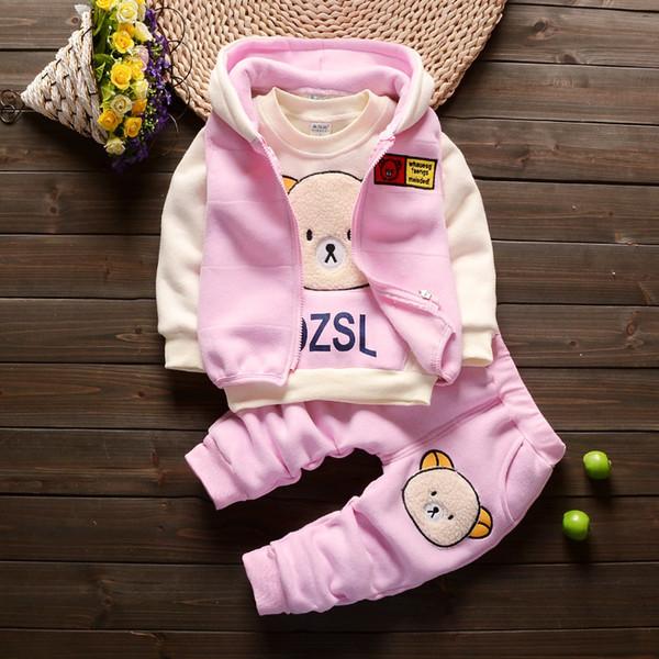 Winter Baby Clothes Set Long Sleeve Fleece 1-3Y Cartoon Bear Boys Tops+Vest+ velvet Pants 3pcs Thick Warm Suits Kids Clothing Y1892807