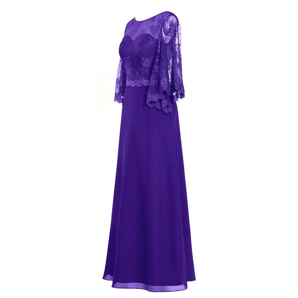 2018 Purple Mother Of The Bride Dresses Chiffon And Lace Sheer A-line Actual Image Wedding Party Gowns Fro Women Plus Size Custom Made
