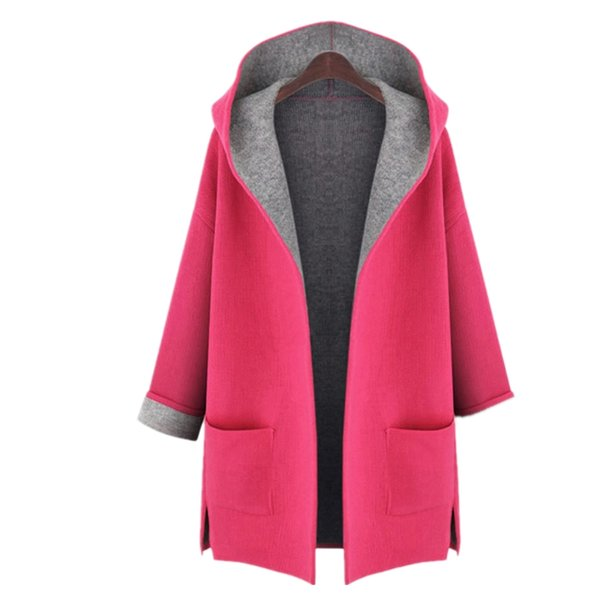 New Winter Fashion Solid Hooded Long Coat Candy Color Plus Size Polyester Loose Thin Rose Cardigan Wool Trench Patchwork L-5XL