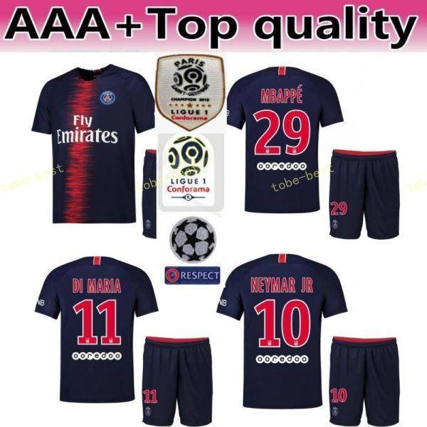 18 19 PSG FC Paris Saint Germain conjunto de camisa de futebol 10 NEYMAR JR 7 Kylian Mbappe 9 Edinson Cavani camisa de futebol Kits uniforme