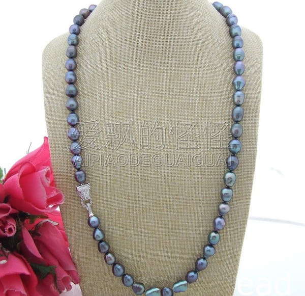 N110601 32'' 11x14mm Black Rice Freshwater Pearl Necklace