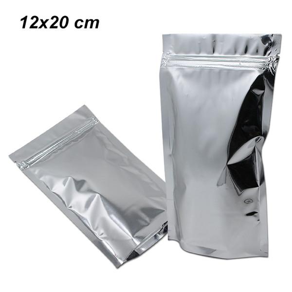 12X20 cm Silber Aufstehen Mylar Folie Zip Lock Wiederverschließbare Aufbewahrungsbeutel Aluminiumfolie Wiederverwendbare Lebensmittelbeutel Lebensmittel Lagerung Mylar Verpackung Beutel
