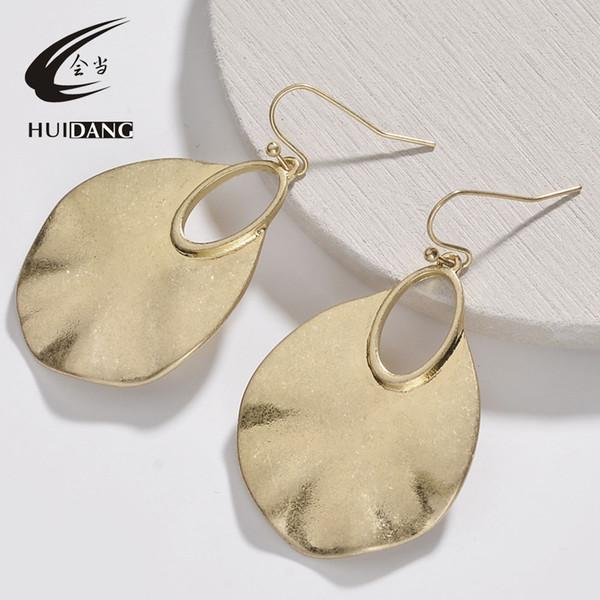 Worn gold silver water drop hammered metal drop earrings jewelry accessories fashion modern women's earrings 2018