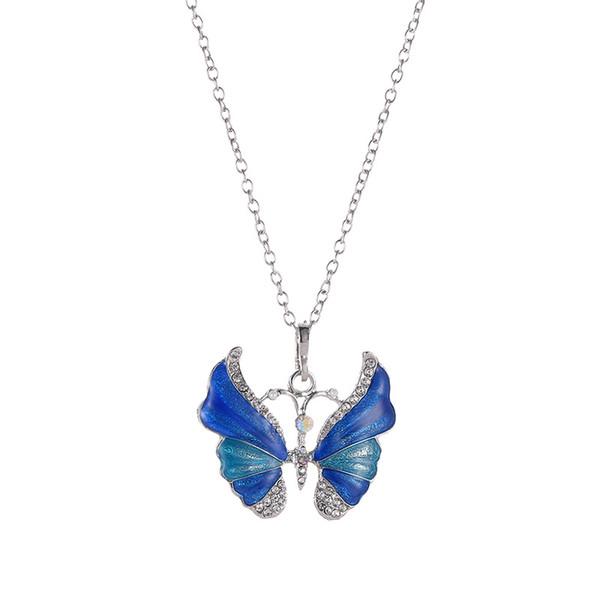 Nuova collana di farfalla epossidica argento multi colori smalto collana pendente farfalla con strass gioielli in metallo vintage per le donne