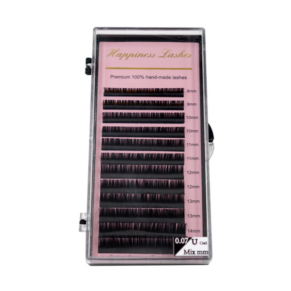 HPNESS 3 Trays/Lot Eyelash Extension 3D Individual Lashes C D U Curl All Sizes 8-15mm Mixed Length in One Tray