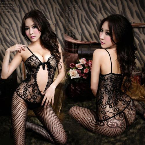 top popular Sexy Black Ladies Fishnet Lingerie Nightwear Crotchless Body Stocking Bodysuit Free shipping QF173 S1012 2021
