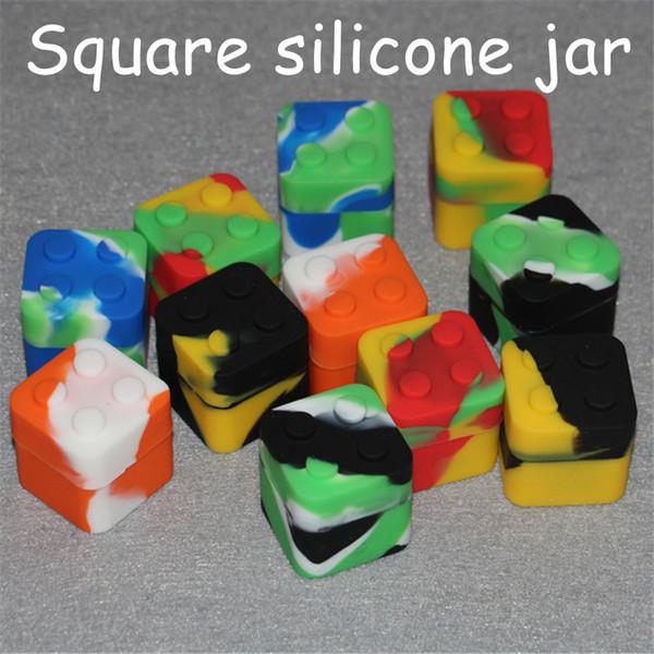 Kaygan yığını şekilli 11 ml silikon kare bho yağ kabı konsantreleri, balmumu ve BHO için silikon dab balmumu saklama kavanoz