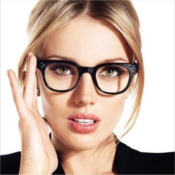 Mujeres transparentes marco de anteojos ópticos marco de borde lleno moda plástica marco de gafas de decoración con estilo