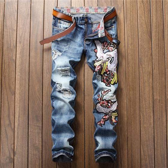 2018 Марка Дизайнер джинсовая мужская одежда Crane Plum Blossom Flower Вышивка джинсовые брюки синего цвета с принтом мужские рваные джинсы