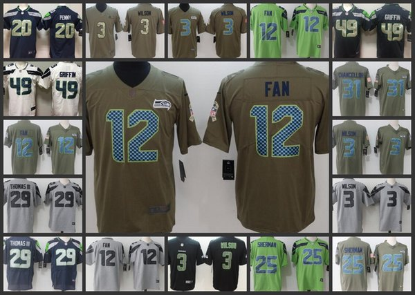 new styles 35b79 d91a3 2019 Seattle Seahawks Embroidery Man Jersey #3 Russell Wilson 12 12th Fan  25 Richard Sherman 49 Shaquem Griffin Women Youth Football Jerseys From ...