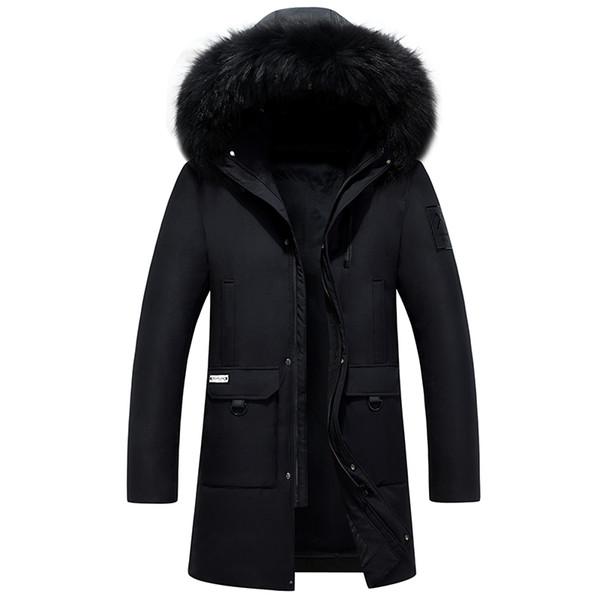 2018 New Down Coat Men Winter Thicken Long Down Jacket Men Parka Real Fur 80% White Duck Plus Size 4XL Erkek Mont Kaban