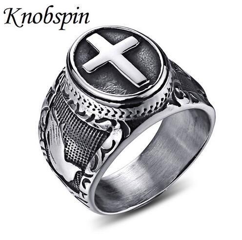 Titane acier anneau de croix vintage pour hommes christ mariage bandes bague religieuse punk rock biker bijoux taille 8-13 anillos