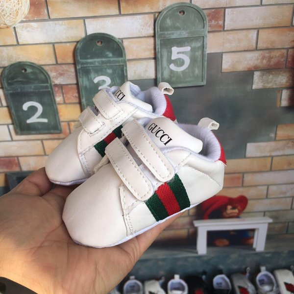 2018 New Baby Brand Shoes Newborn Boys Girls Stripe Pattern Desinger First Walkers Kids Toddlers Lace Up PU Sneakers 0-18 Months Gift