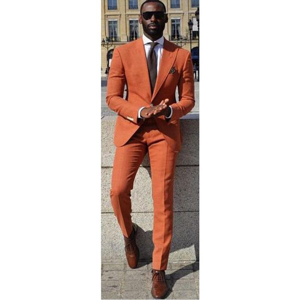 Custom Made Orange Men Suit Skinny Formal Simple Outfit Party Blazer Prom Tuxedo 2 Piece Groom Tuxedos (Jacket+Pants)