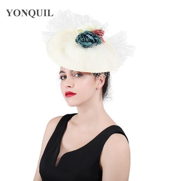 2018 New Design Top Quality Big Veils Fascinators headbands Party Flower Derby Hats Bridal Married wedding pillbox hats headwear SYF407