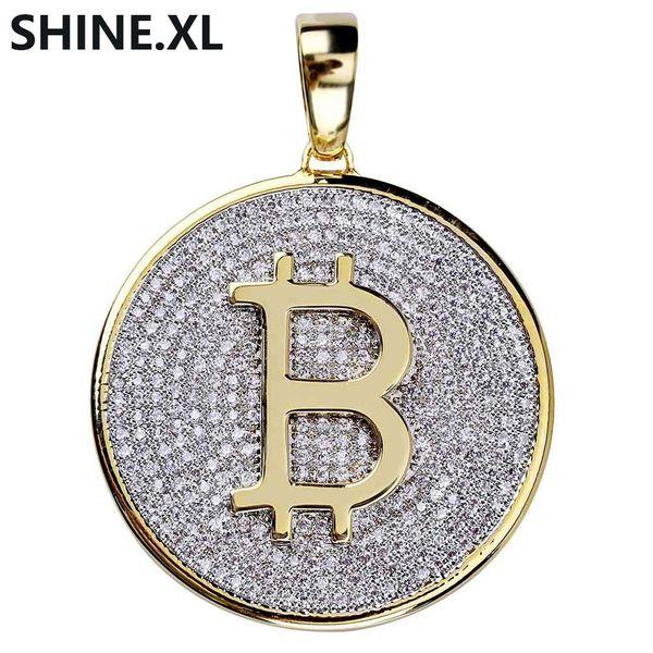 Hip Hop Buzlu Out Yuvarlak Bitcoin Kolye Mikro Açacağı CZ Taş Kolye Erkekler Için Altın Renk Kaplama Altın Zincir