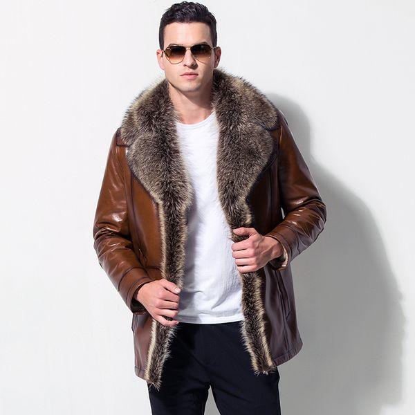 Мужской кожаный мех верхняя одежда европейский стиль одежда овчины зима мужская меховой воротник флис подкладка искусственной кожи куртка теплое пальто