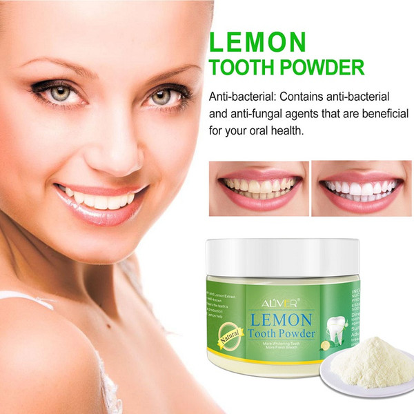 best selling ALIVER Teeth Whitening Powder Natural Activated Lemon Whitening Tooth Teeth Powder Toothpaste Oral Hygiene Cleaning Anne