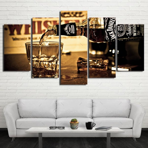 5 Pieces wall art canvas painting HD Printed s drink posters wall pictures for living room modern home decor