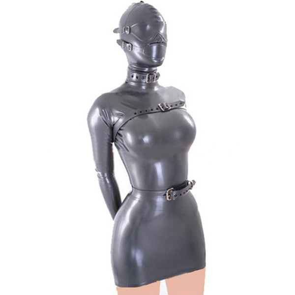 100% Pure Latex Sexy Dress for Women with Latex Belt on Neck&Chest&Waist and Removable Eyes Masks Rubber Catsuits Fetish Cosplay Party Wear