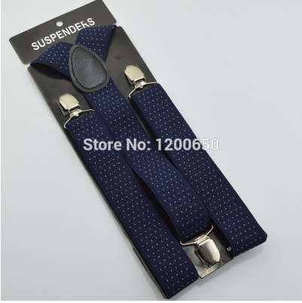 120cm Men's Unisex Clip-on Braces Elastic 3.5cm Wide larger Suspenders/Gallus/Belt For Women dot navy blue