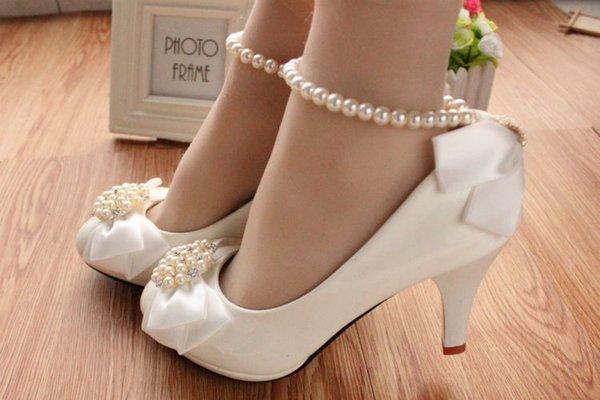 White 8cm Heel