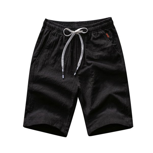 2018 summer cotton casual shorts men funny beach short pants fashion black knee short drawstring elastic waist shorts male 4XL