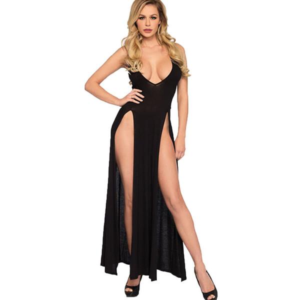 Hot Sexy Femmes Lingerie Push Up Vêtements De Nuit Babydoll Vêtements De Nuit Sling Dress Low-cut Col V Split Solide Vêtements De Nuit Noir