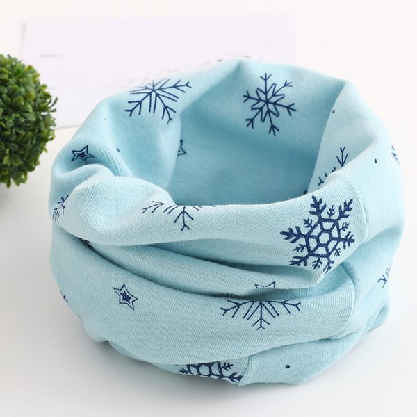 DropShipping Christmas little Kids Scarf Snowflake Pattern Stitching Leave O-ring Cotton Scarf Neck Warmer Unisex Winter Collar