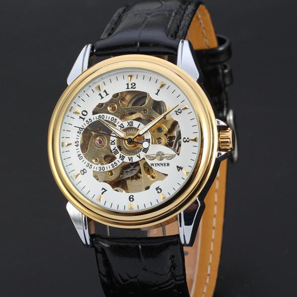 Top Brand WINNER Men's Automatic Skeleton Mechanical Watch Luxury Genuine Leather Casual Sports Men WristWatches Self-Wind Clock