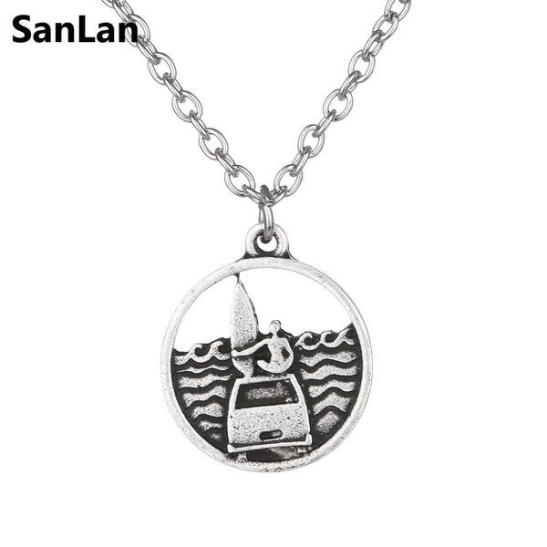 SanLan 12pcs Surf Sea Pendant Necklace Ocean Waves Necklace Beach gift for surfers