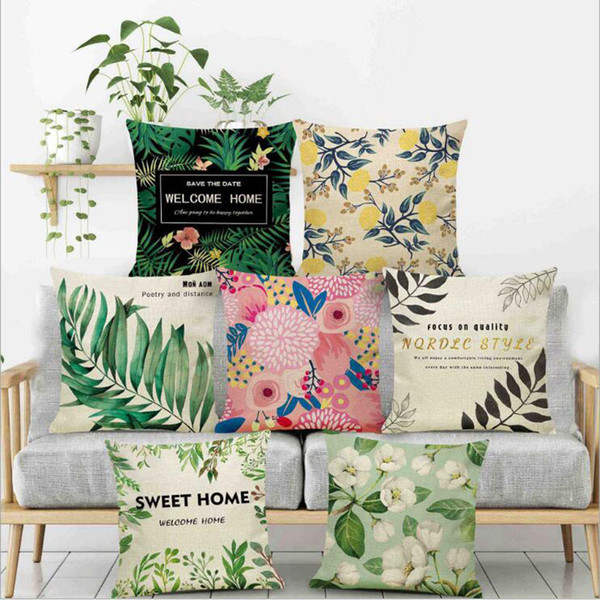 top popular Rainforest Leaves Africa Tropical Plants Hibiscus Flower Throw Linen Pillow Case Chair Sofa Cushion Cover Free Shipping 2021