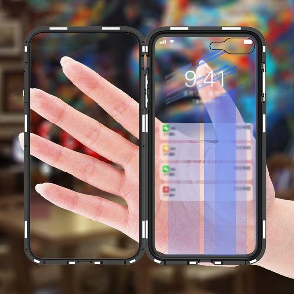 50pcs Luxury Magnetic Flip Case for iPhone XS MAX XR X 7 8 Plus PC Border Transparent Tempered Glass Back Cover