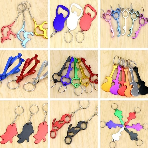 New 31 Styles fashion Wedding Supplies bottle opener key chain Simple and durable key chain beer bottle opener I188