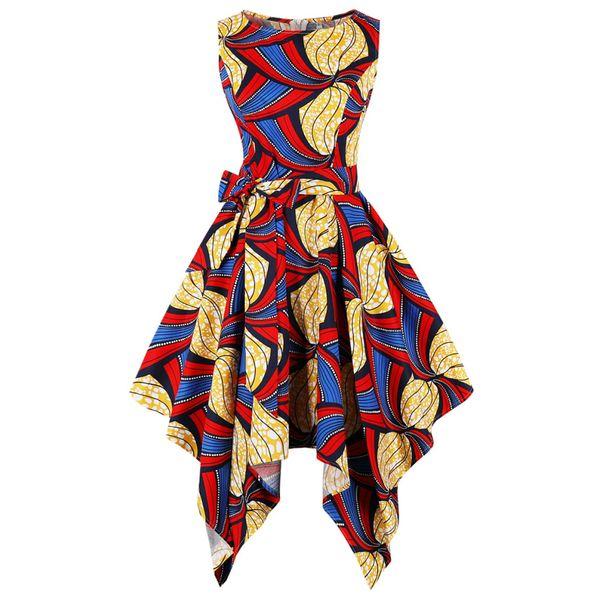 Wipalo Plus Size Nation Printing Vintage Party Dress Summer Women Sleeveless Yellow Big Hem Corset Retro Dress Female Vestidos