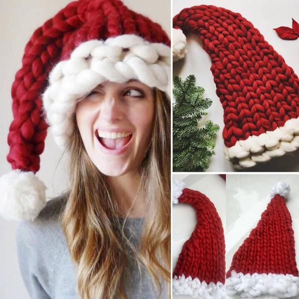 Chapéu de Papai Noel vermelho Ultra Macio Boné de Natal de Pelúcia Decoração de Natal Crianças Adultos Chapéus de Festa de Natal atacado