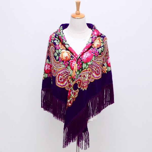 Sale Russian Brand New Fashion Big Size Square Cardigon Cotton Long Tassel Print Scarf in Spring Winter Shawl For Women floural