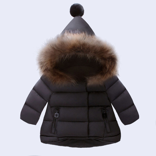 best selling New Arrived Baby Girl Winter Down Coat 2017 Kids Thick Clothing Children Warm Outwear Infant Padded Jacket Beige Red Black Color