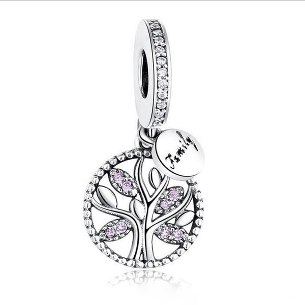 Fit Pandora Charm Bracelet European Silver Charms Beads Family Tree Crystal Dangle Bead DIY Snake Chain For Women Bangle Necklace Christmas