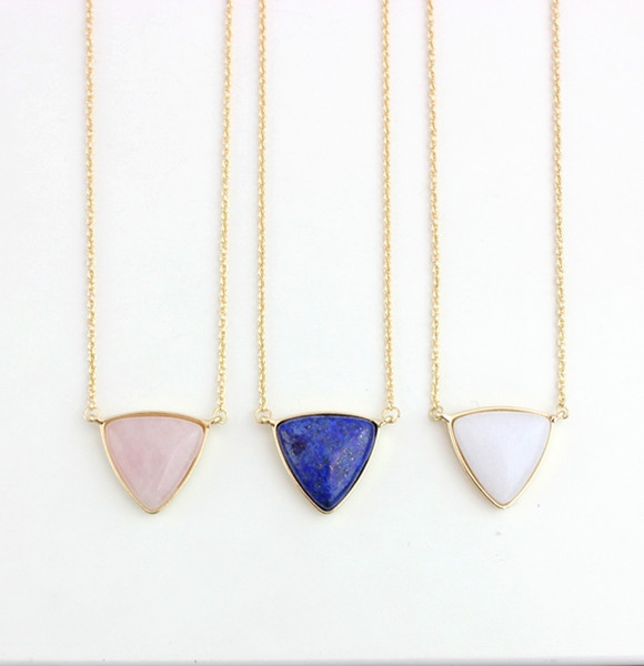 Fashion Blue Pink Quartz Necklace Triangle Natural Stone gold plated Necklaces for women jewelry