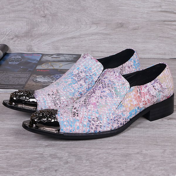 Metal Pointy Toe Mens Cow Leather Dress Shoes Slip on Mixed Colors Print Snakeskin Oxfords Formal Shoes Men Spring