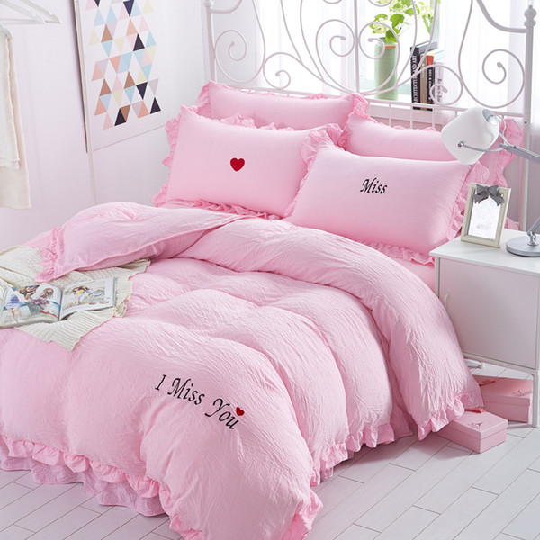 4Pcs/Set Miss Embroidery Washed Cotton Bedding Sheets Comforter Duvet Cover Sheet Sets Bedclothes Bed Linen