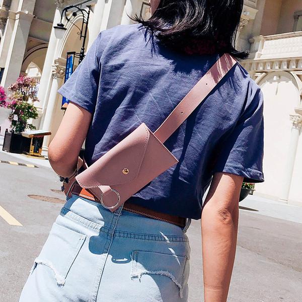 Fashion Women Pure Color Ring Leather Messenger Shoulder Bag Chest Bag
